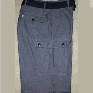 $56 Levi's Belted Cargo Shorts Blue Chambray 32